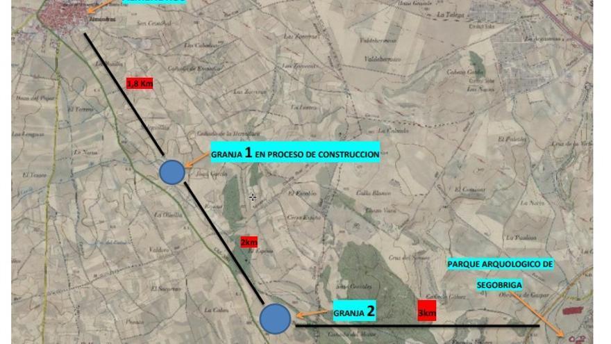 Plano de situación de la explotación porcina prevista en Almendros (Cuenca)