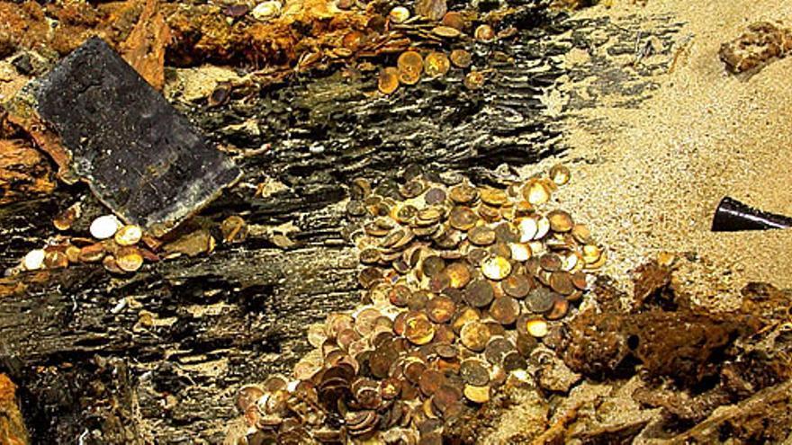 Una parte del tesoro encontrado por la empresa Odyssey en Cádiz