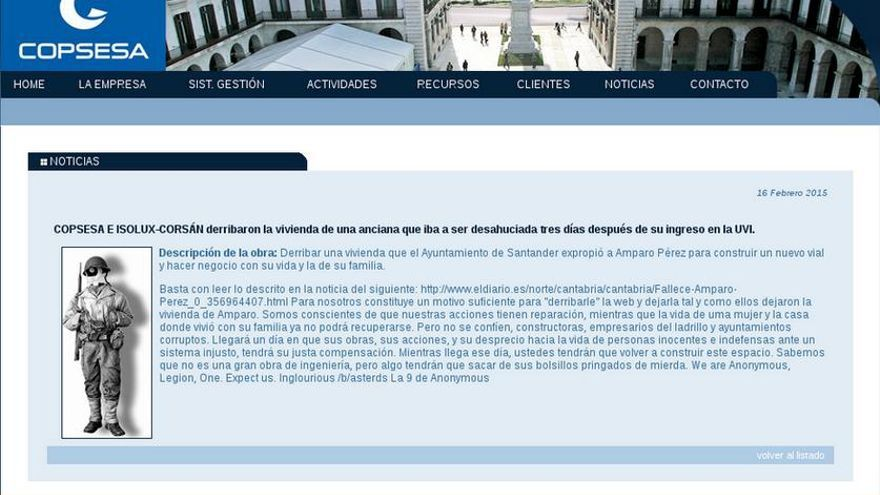 El grupo 'La 9 de Anon' ha hackeado la web de Copsesa.