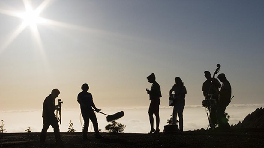 Imagen de archivo de un rodaje realizado durante una de las ediciones de 'La Palma Rueda' de  El Festivalito.