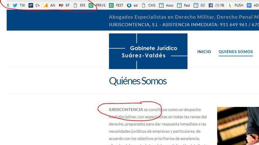Apartado de la página web del gabinete jurídico Suárez Valdés Abogados donde explica sus vínculos con la sociedad Iuriscontencia SL.
