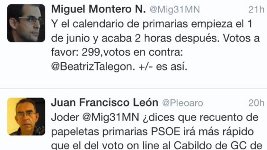 Captura de pantalla del Twitter de Miguel Montero.