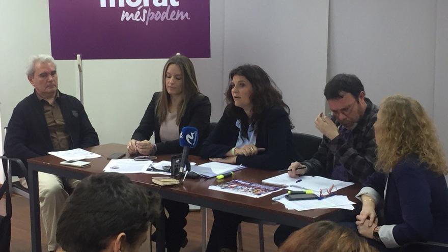 Fabiola Meco y Ángela Ballester presentan la candidatura 'Més morat, més Podem'