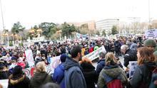Participantes durante la manifestación de las Asociaciones vecinales que se concentran en Cibeles para protestar contra la basura de la Mancomunidad del Este