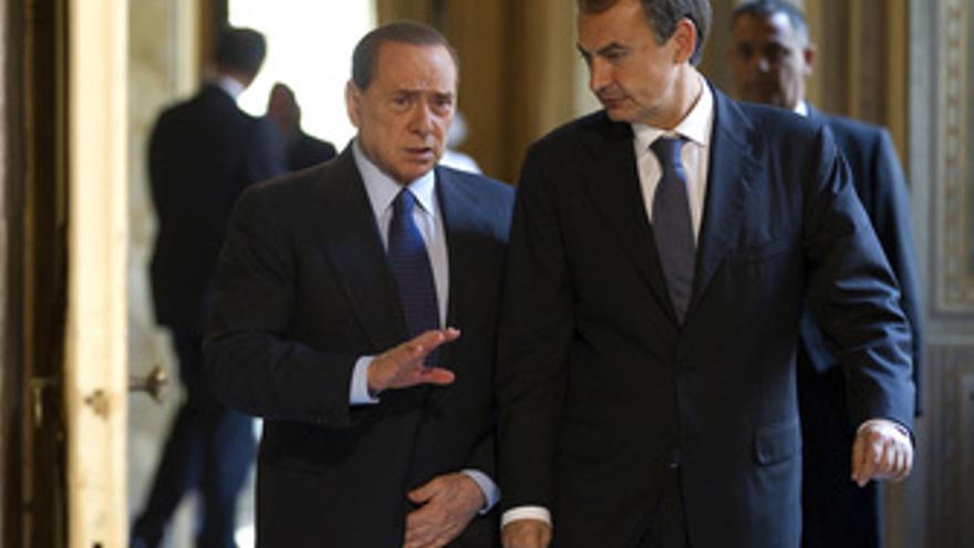 Zapatero y Berlusconi en Roma
