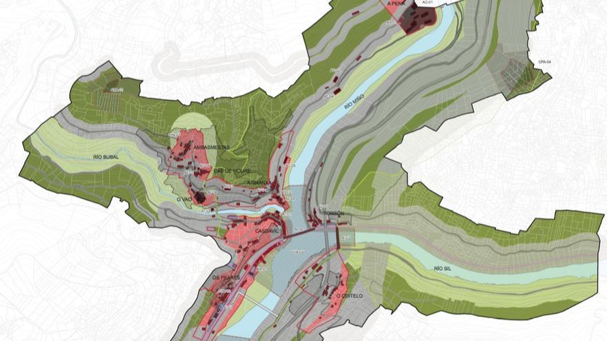 Mapa de ordenación de Os Peares incluido en el plan urbanístico de la zona