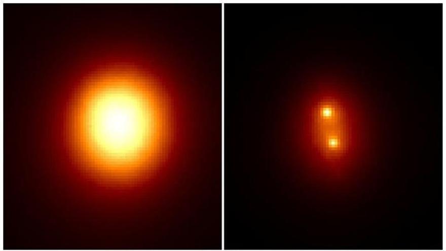 A la izquierda la imagen con efectos atmosféricos en la que es imposible distinguir las dos estrellas que forman la binaria, a la derecha procesada a partir de 50.000 imágenes individuales de 30 milisegundos, tras aplicarle el algoritmo. EFE/