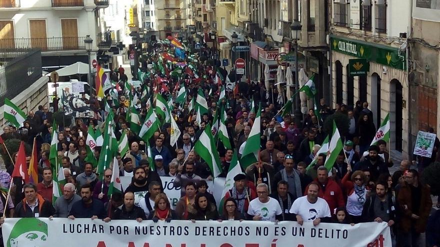 Un millar de personas se reúnen en el centro de la capital para reclamar la libertad de Andrés Bódalo
