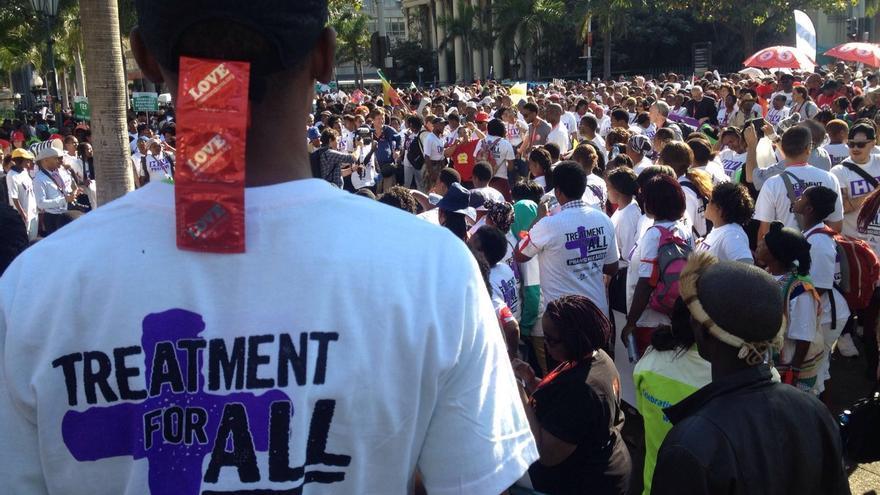Manifestación en Durban (Sudáfrica) por los derechos de las personas con VIH este lunes | FOTO: Pablo Trillo