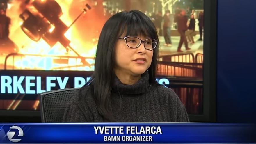 Yvette Felarca, durante una entrevista para KTVU News // KTVU