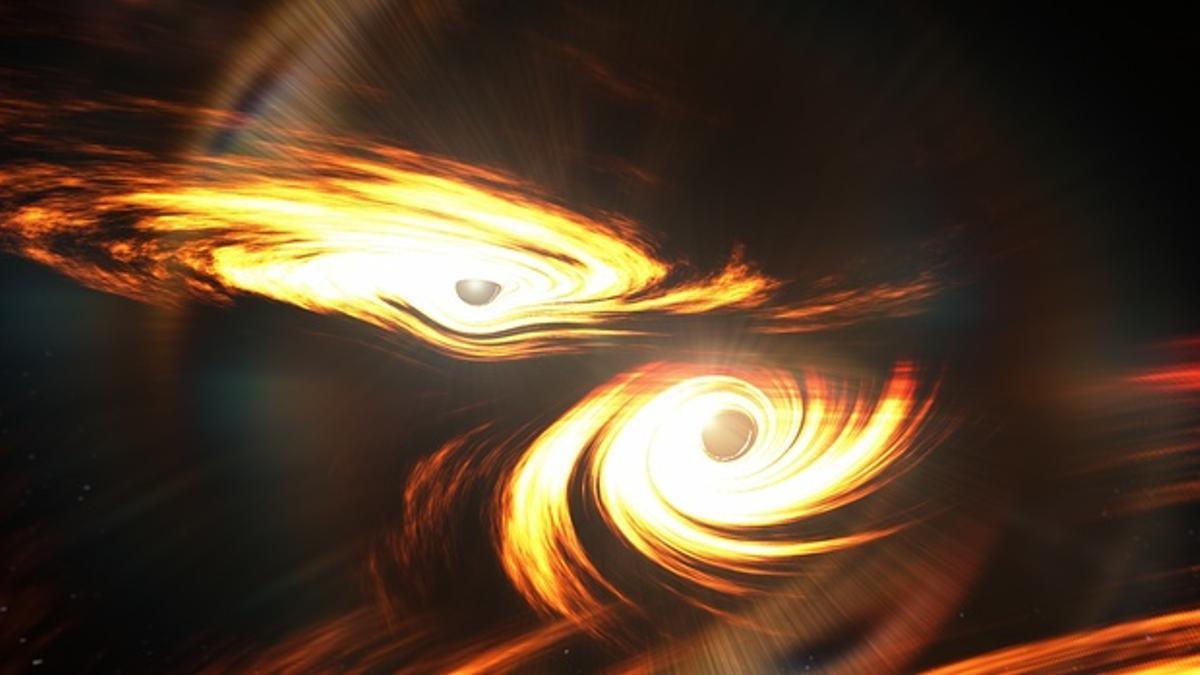 Recreación artística de dos agujeros negros binarios a punto de chocar