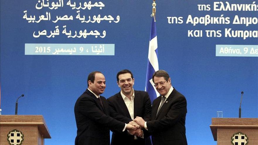 Tsipras, Al Sisi y Anastasiadis apoyan un Estado palestino, la unión de Chipre y luchar contra el yihadismo