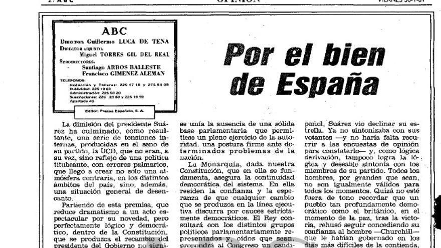 Fragmento del editorial de ABC tras la dimisión de Suárez en enero de 1981