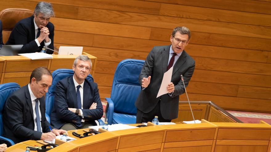 Feijóo, durante la sesión de control de este miércoles en el Parlamento de Galicia