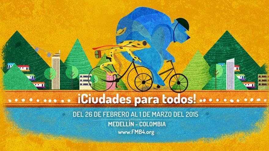 Cartel del Foro Mundial de la Bicicleta, este año en Medellín