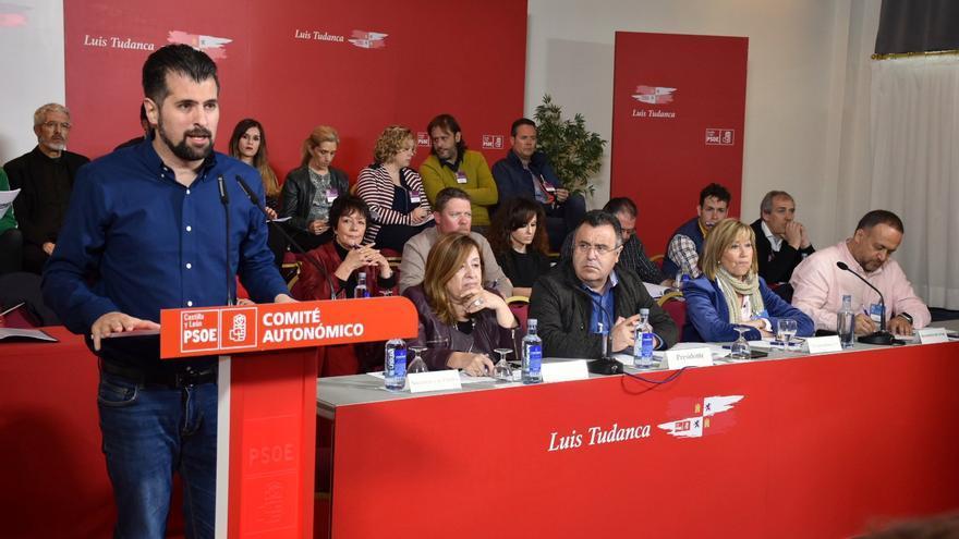 Luis Tudanca durante el comité autonómico del PSOE