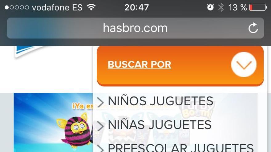 Hasbro separa en su web los juguetes para niños y niñas.