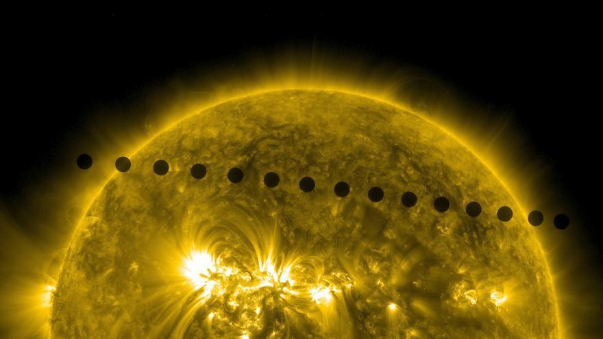 Los días 5 y 6 de junio de 2012, el Observatorio de Dinámica Solar de la NASA recogió imágenes de uno de los eventos solares más raros: el tránsito de Venus a través de la faz del Sol.