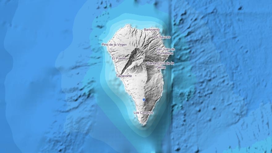 Ubicación del último sismo registrado por el IGN en La Palma.