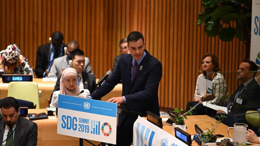 El presidente en funciones Pedro Sánchez durante la Asamblea Gral. de la ONU. FOTO: PSOE.