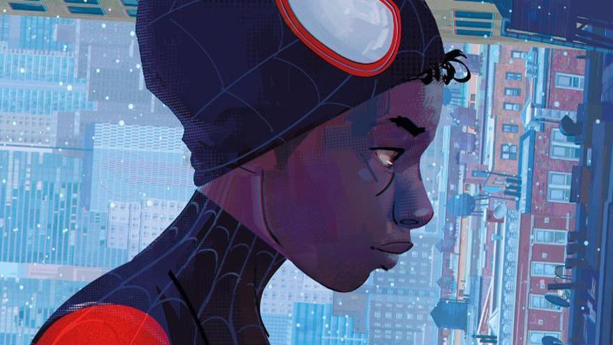 Miles Morales en la portada del libro de arte de la película