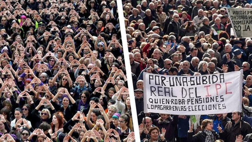 Manifestación feminista del 8M a la izquierda y manifestación por las pensiones a la derecha