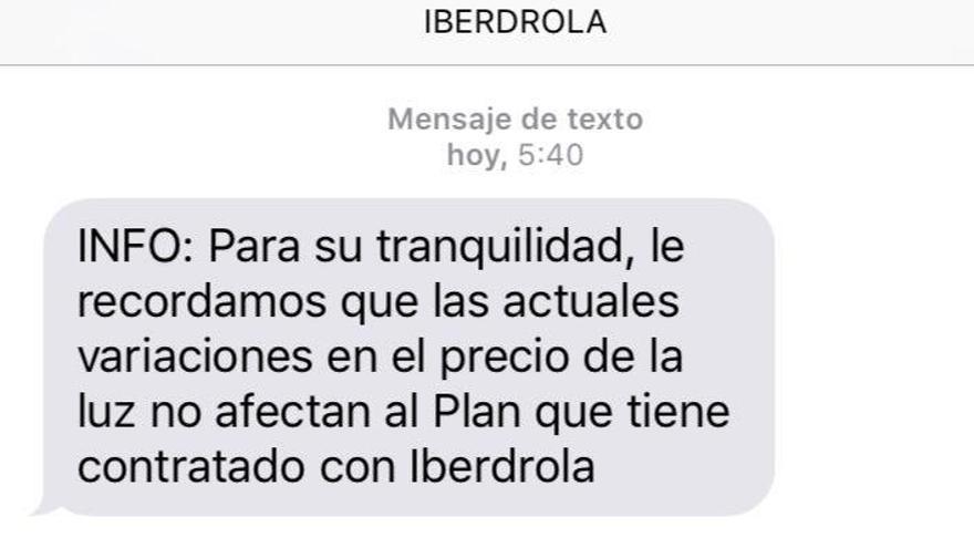 Mensaje de Iberdrola.