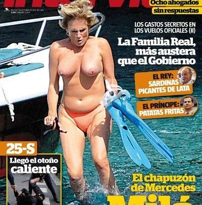 Mercedes Milá, pillada en topless saltando desde un barco