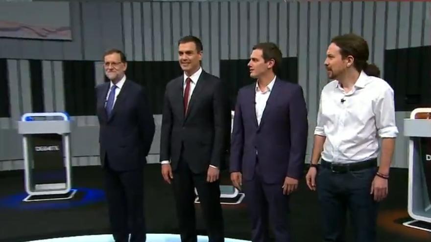 Los candidatos del debate a cuatro en el plató
