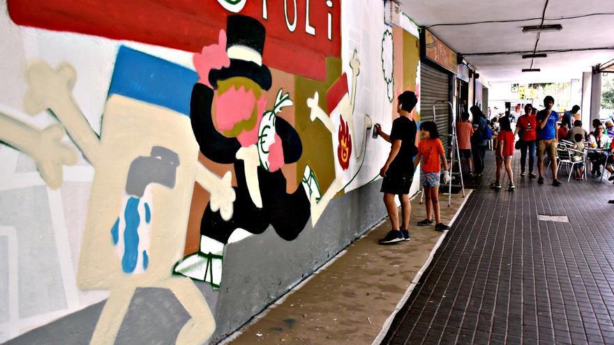 Mural y fiesta popular en el bes s contra la pobreza for Mural nuestra carne