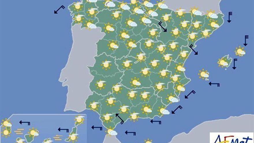 Hoy bajan las temperaturas en el Mediterráneo y suben en Galicia