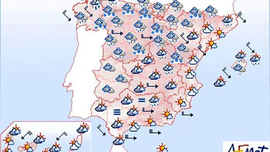Viento fuerte en el norte y el este y bajada de la cota de nieve