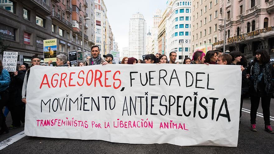 Bloque transfeminista en la manifestación antiespecista del 4N en Madrid.