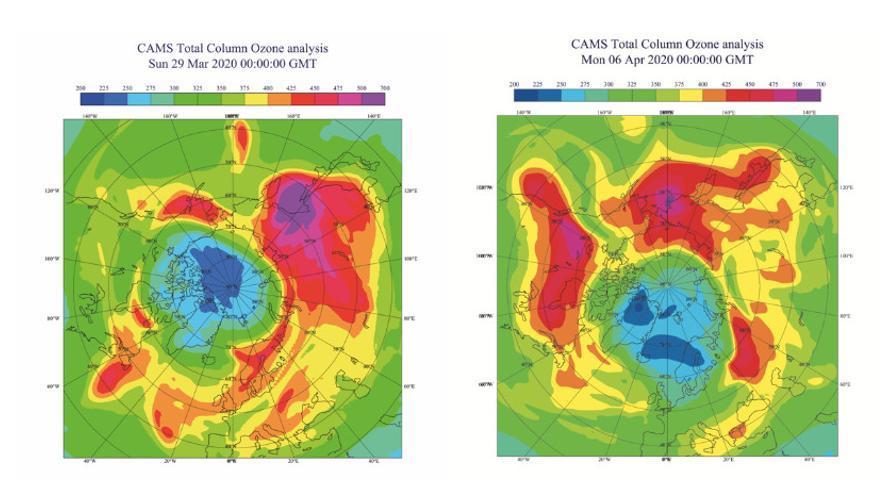 La columna total de ozono (en unidades Dobson) en su máxima extensión, el 29 de marzo de 2020 (izquierda) y el 6 de abril de 2020 (derecha), muestra unos valores inferiores a 250 UD en amplias zonas del Ártico