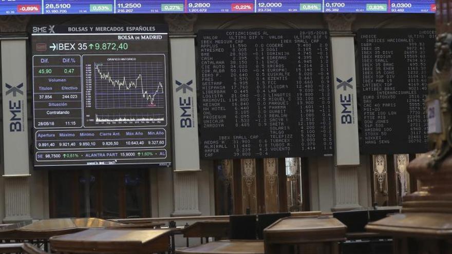 El IBEX pierde más del 2,5 % a 13.30 horas y las bolsas europeas se desploman