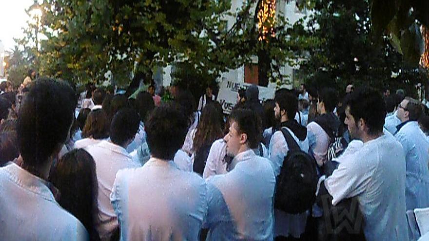 Concentración de profesionales y estudiantes a las puertas de la Delegación del Gobierno / H.P.