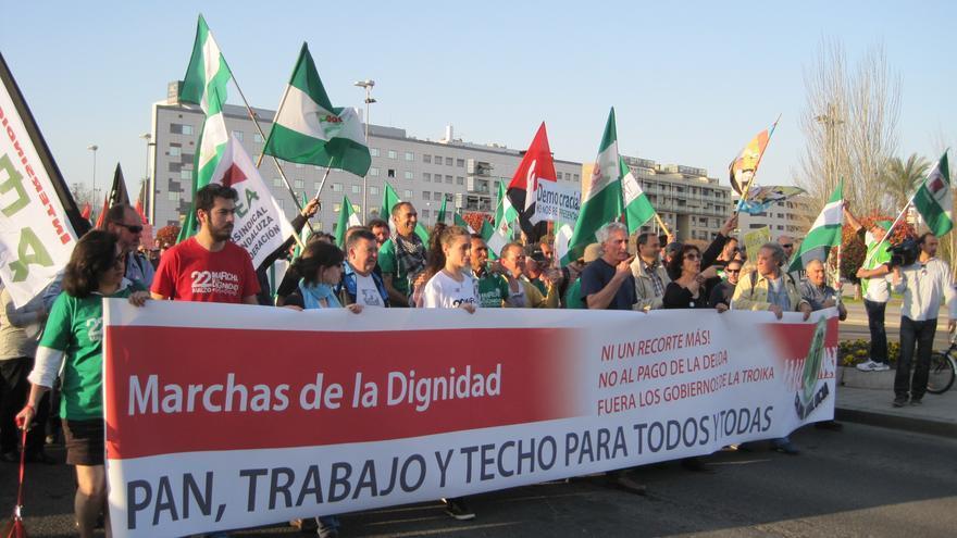 Cabecera de la manifestación de la columna de las Marchas de la Dignidad de 2014 desde Andalucía.