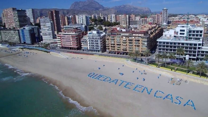 The beaches of Benidorm, empty this Easter
