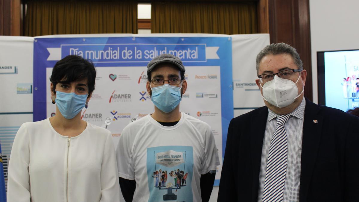 Belén Díez, Josi Echevarría y José Ignacio Allende durante el acto del Día Mundial de la Salud Mental.