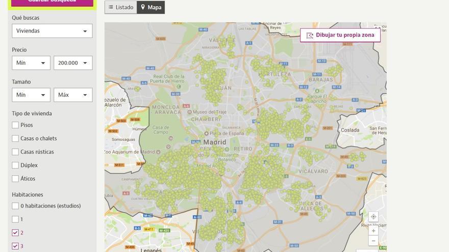 Mapa para comprar vivienda en Madrid.