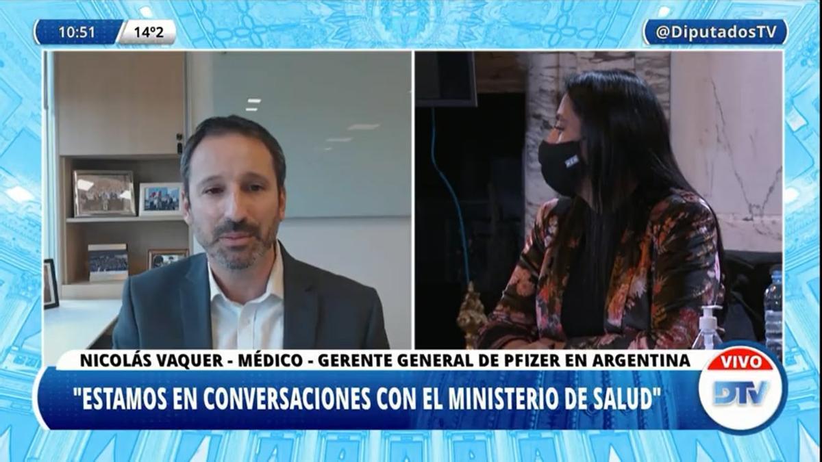 Nicolás Vaquer, gerente general de Pfizer en Argentina, respondió las preguntas de los diputados.