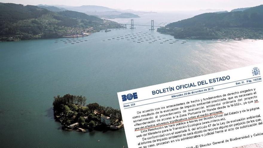 Ensenada de San Simón, espacio natural protegido, y resolución sobre las obras que quiere realizar el Puerto de Vigo, emplazadas al fondo a la izquierda, junto al puente de Rande