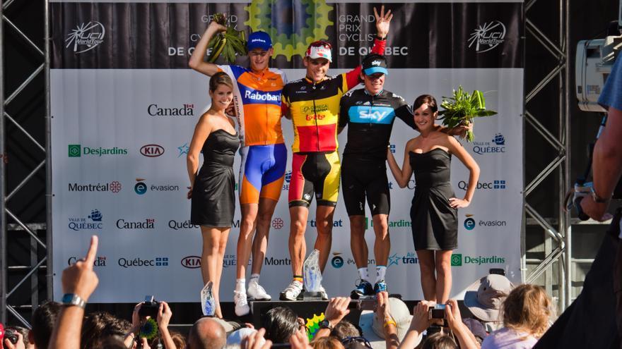 Podio en el Gran Premio de ciclismo de Quebec 2011. \ Wikipedia