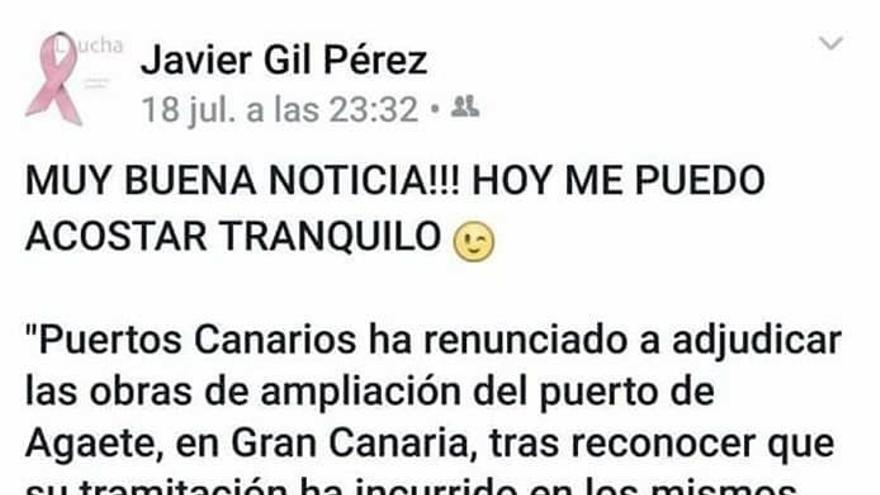 Publicación de Javier Gil en su perfil de Facebook en julio de 2016.