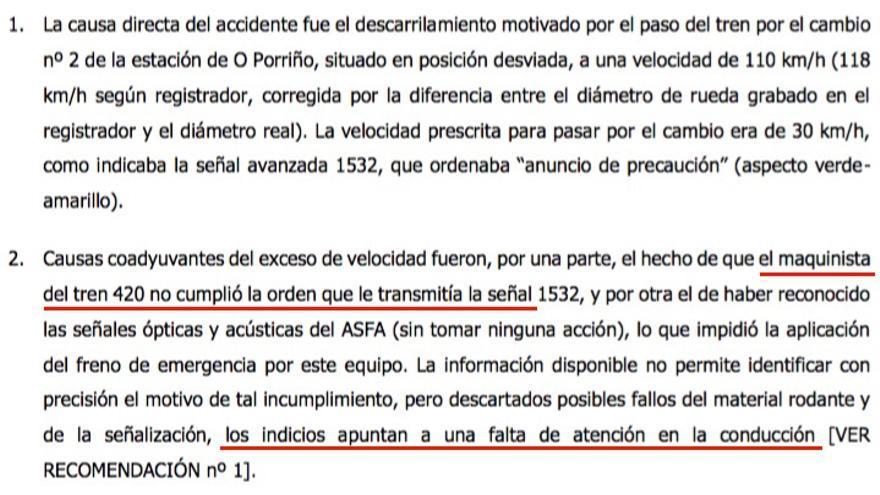 Causas del accidente de O Porriño establecidas por la CIAF