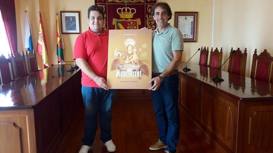 Abián Calero y Francisco Paz, con el cartel anunciador de las Fiestas Patronales de Montserrat 2017.