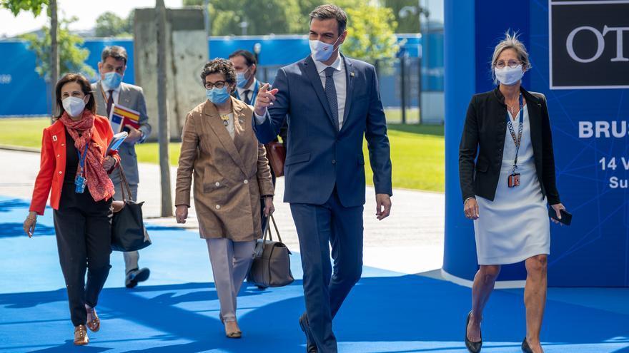 El presidente del Gobierno, Pedro Sánchez, a su llegada a la reunión de jefes de Estado y de Gobierno de la OTAN en Bruselas.