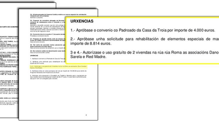 Acuerdo de cesión del inmnueble, en la Junta de Gobierno de octubre de 2012