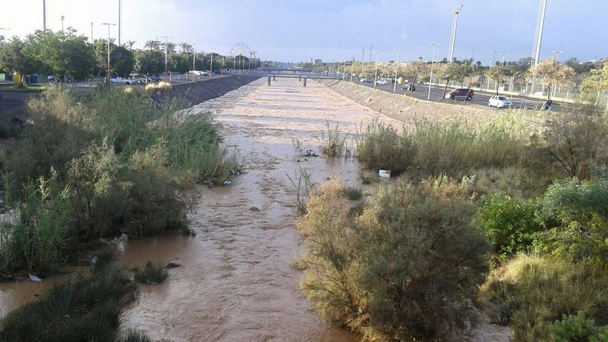 El agua corriendo por el Barranco de Maspalomas, en Gran Canaria.