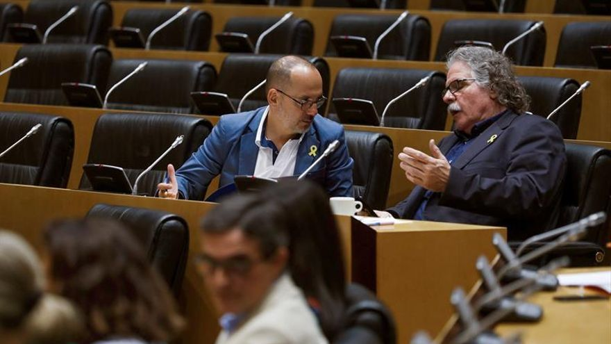 Los diputados Campuzano (PDeCAT) y Tardà (ERC) en una comisión del Congreso